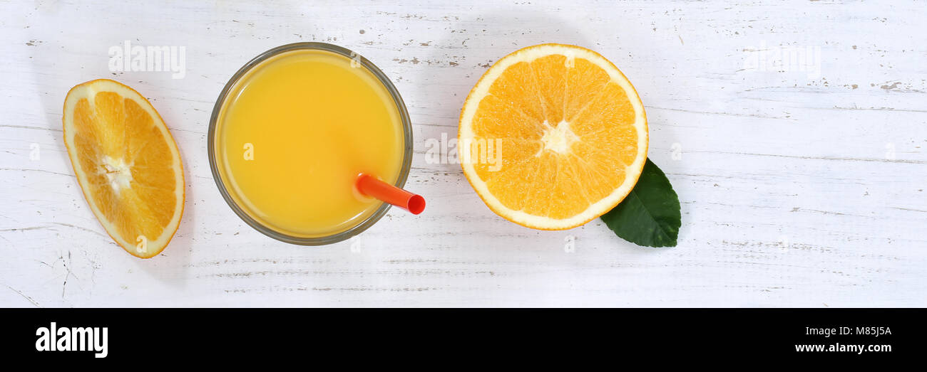 Orange juice oranges from above banner fruit fruits fresh drink - Stock Image
