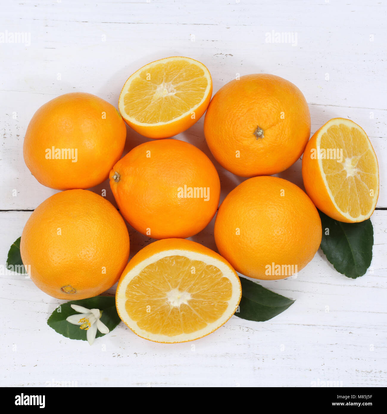 Oranges orange fruits square top view from above - Stock Image