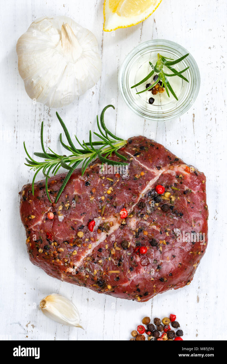 Meat raw beef steak portrait format top view from above - Stock Image