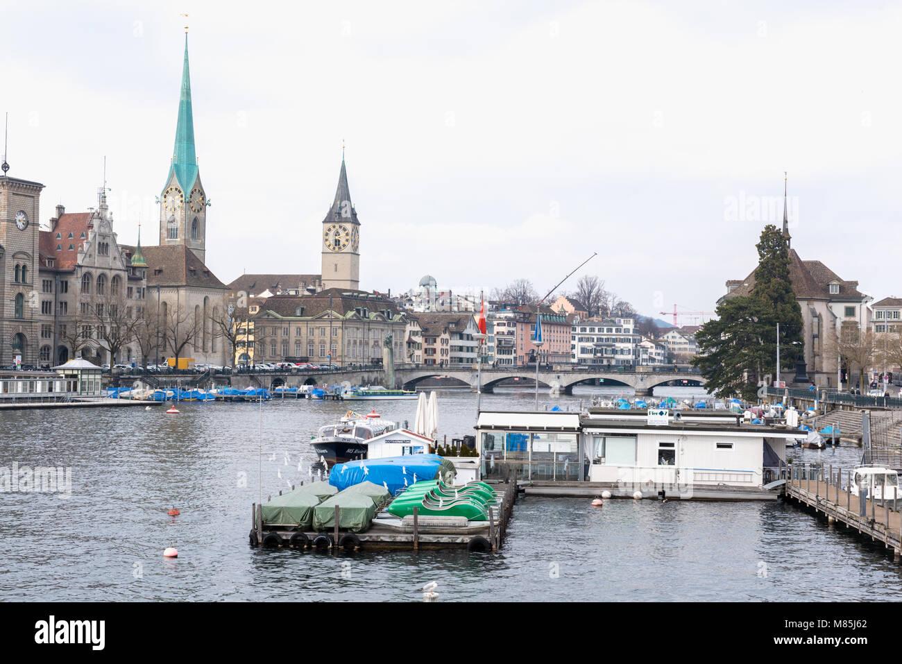 Limmat river, Zurich, Switzerland - Stock Image