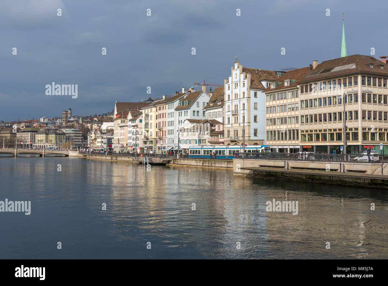 Limmat river in Zurich, Switzerland on an overcast day - Stock Image