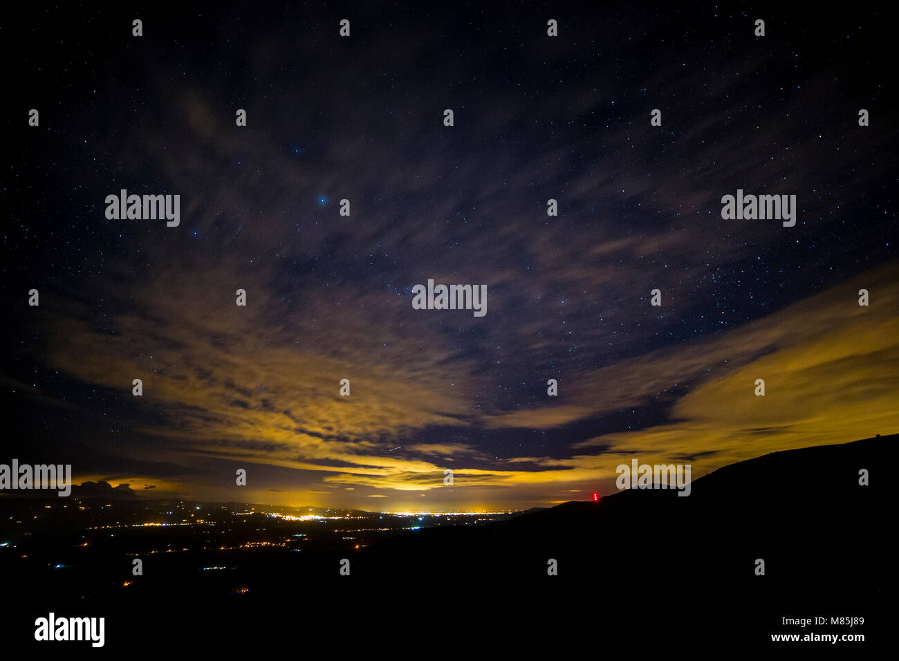 Stars over the Vale of Clwyd at night, North Wales - Stock Image
