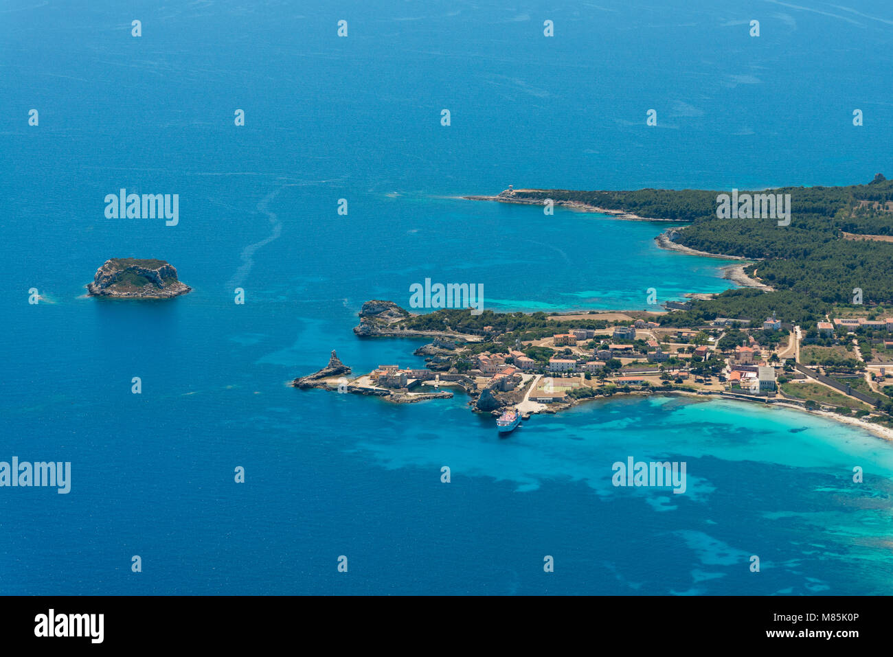 Aerial image of Isola de Pianosa (Pianosa Island), a former penal colony island established by Leopold II, Grand - Stock Image