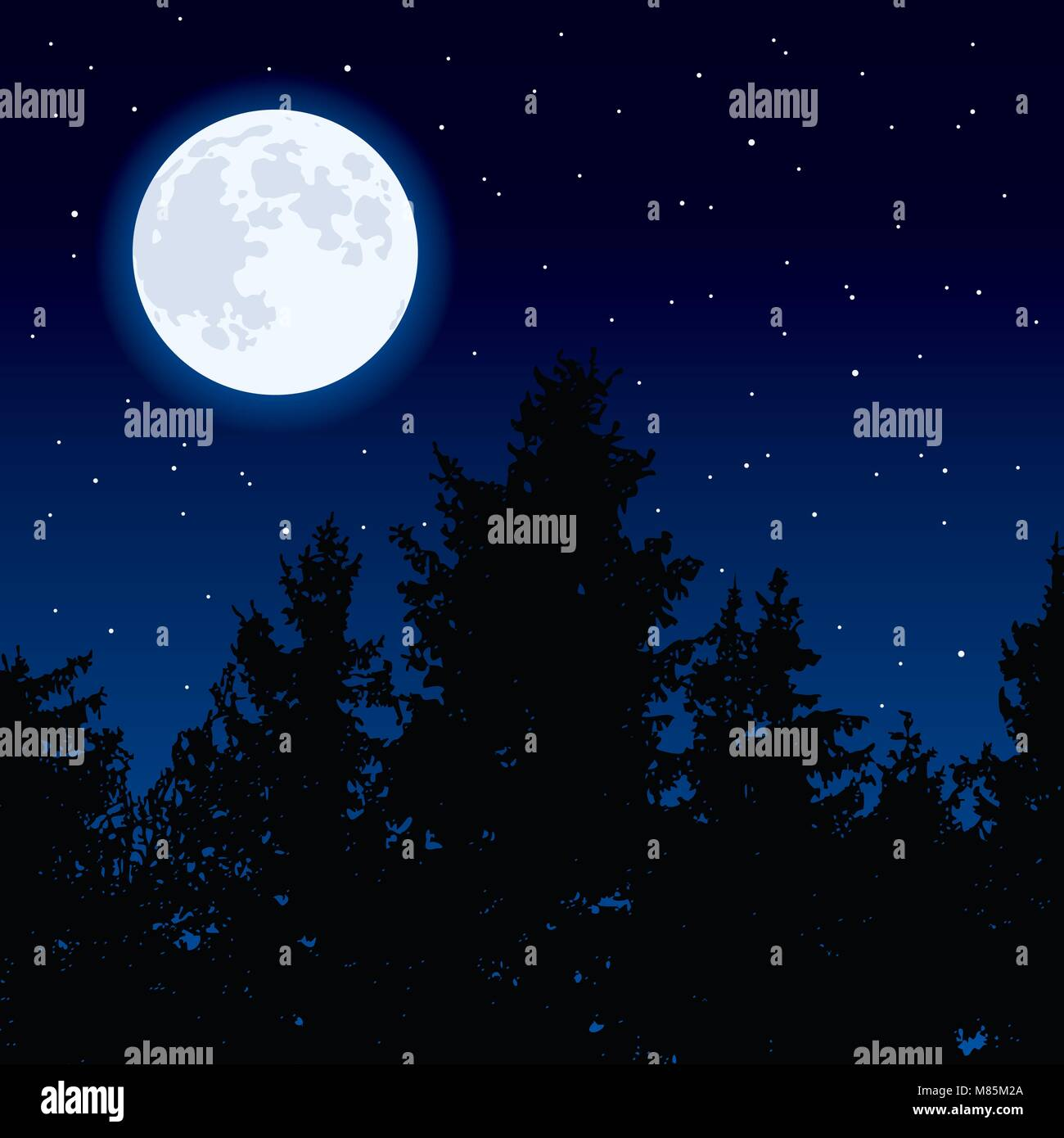 vector background with glowing moon in night sky and dark forest trees. full moon phase. eps10 illustration Stock Vector