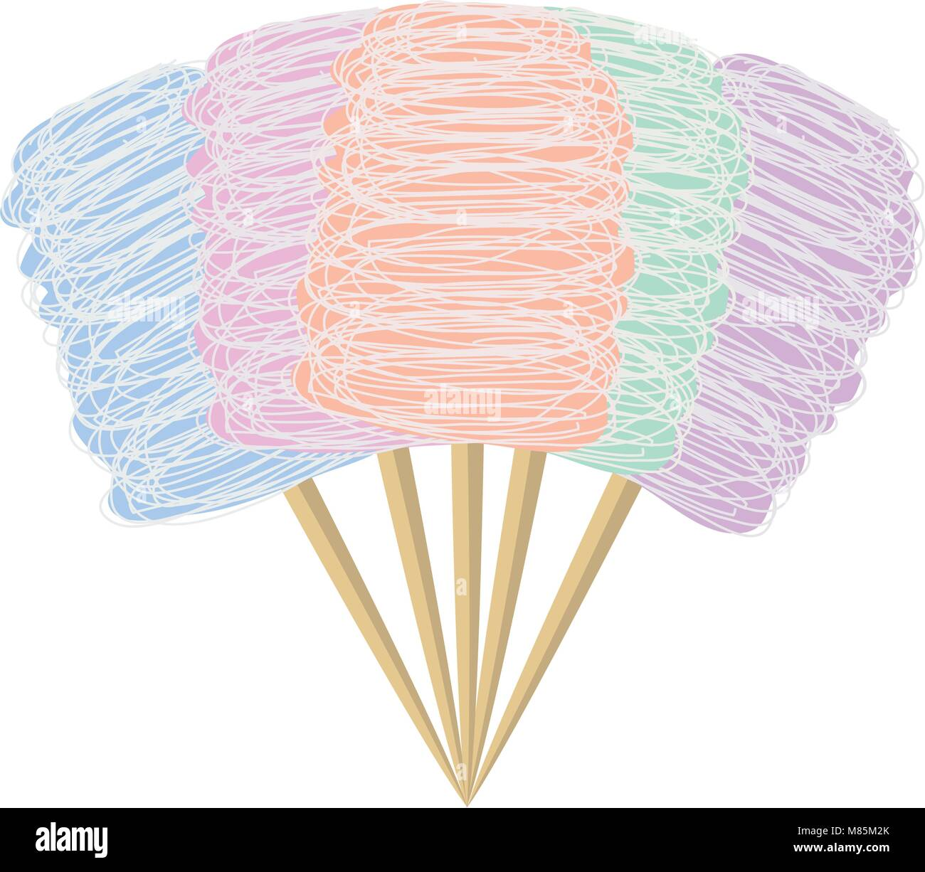 vector colorful candy cotton set isolated on white background. collection of sweet fluffy sugar clouds, flat design - Stock Image