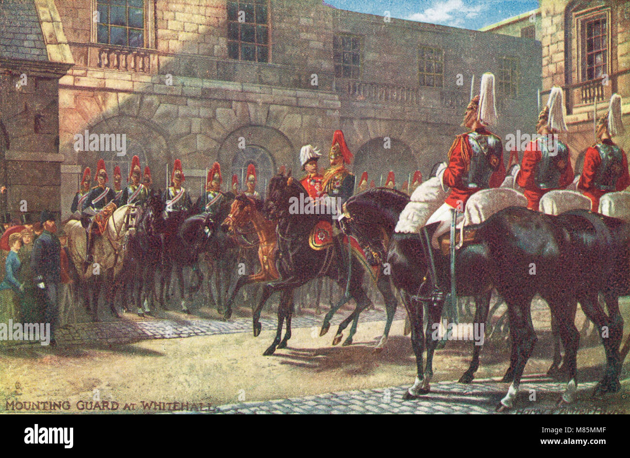 Mounting guard (changing the guard) at Whitehall, London, England, circa 1905 - Stock Image