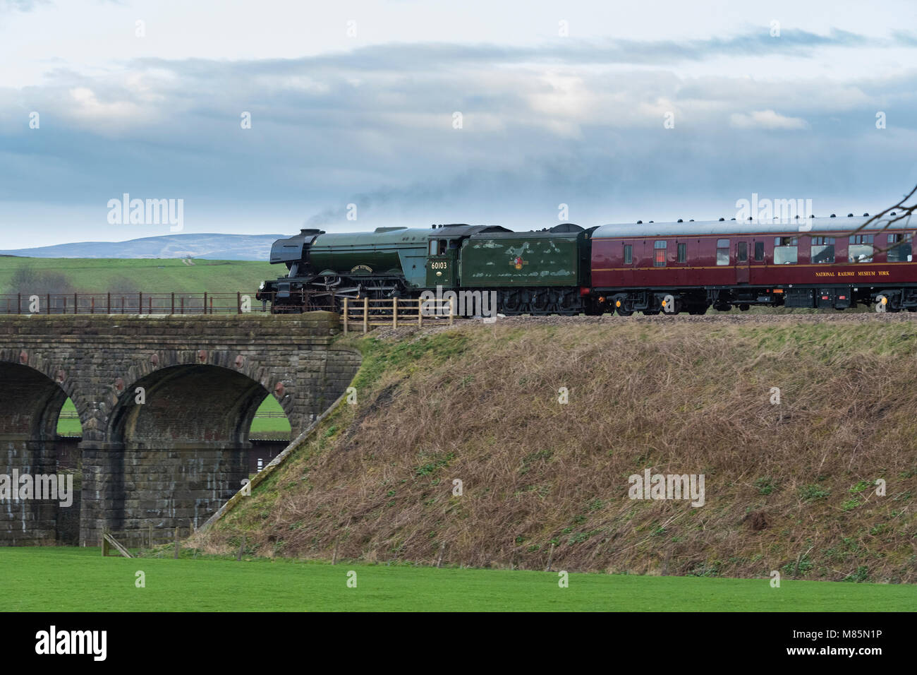 Puffing steam cloud, iconic locomotive LNER class A3 60103 Flying Scotsman about to cross stone bridge - Ribblehead, - Stock Image