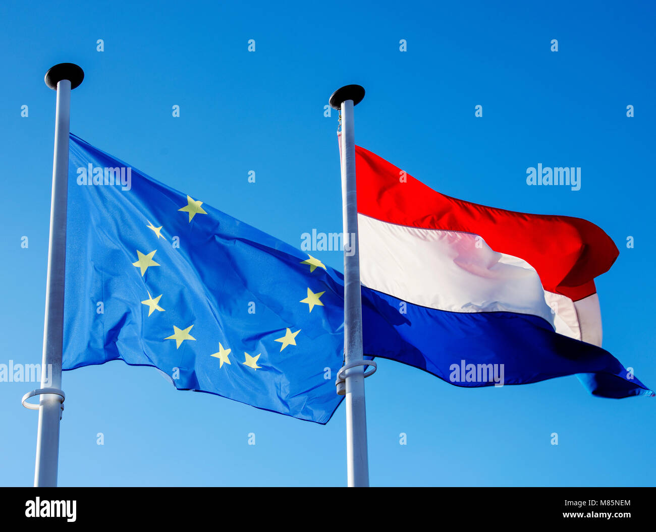 closeup of a flag of the European Union and a flag of Luxembourg hanging in its respective poles, waving on the - Stock Image