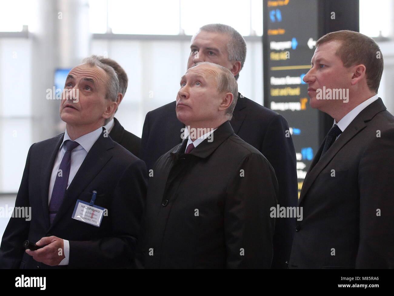 Simferopol, Russia. 14th Mar, 2018. SIMFEROPOL, CRIMEA, RUSSIA - MARCH 14, 2018: Akons Pro general director Igor - Stock Image