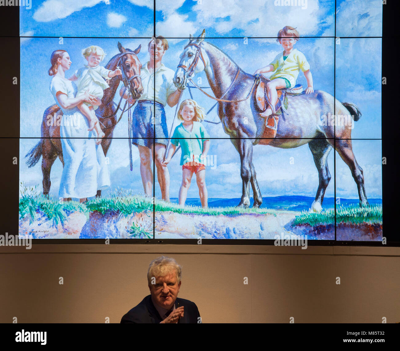 Bonhams, New Bond Street, London, UK. 14 March 2018. Dame Laura Knight's A Seaside Holiday in the top 10 lots in - Stock Image