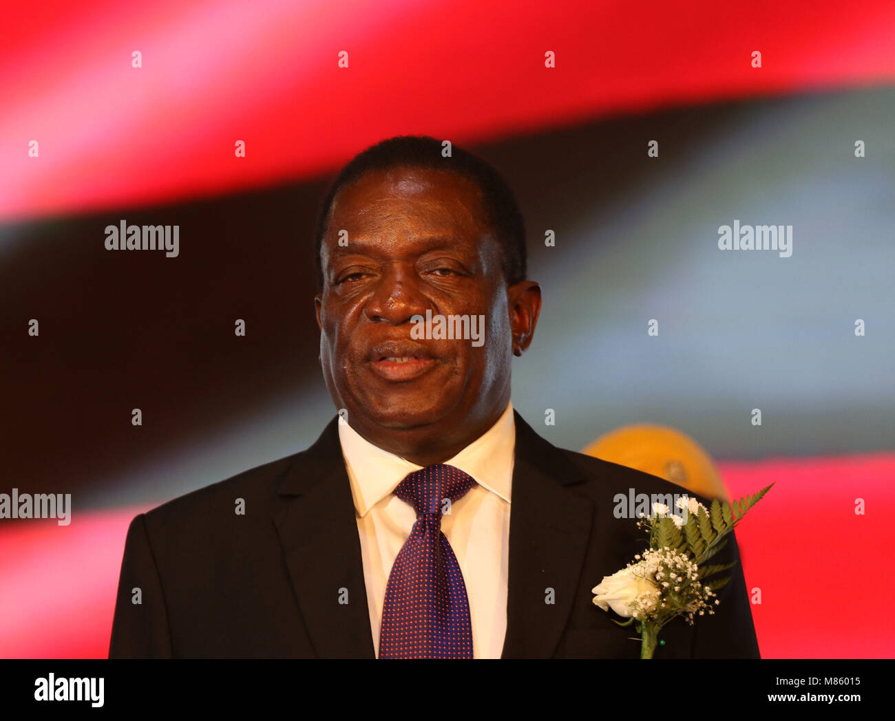 Harare, Zimbabwe. 14th Mar, 2018. Zimbabwean President Emmerson Mnangagwa addresses the launch of the national Information - Stock Image