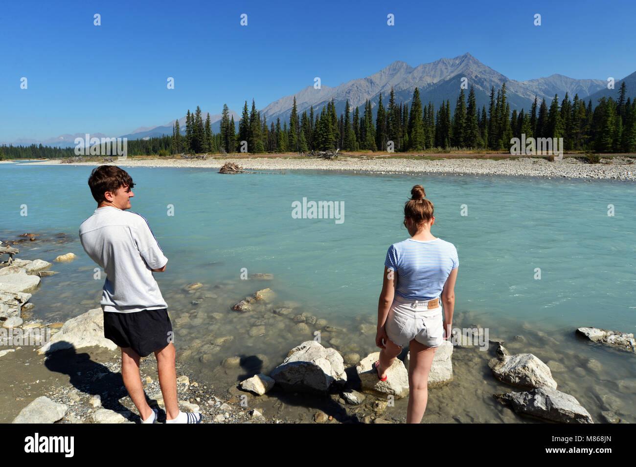 Kootenay River, Kootenay National Park, British Columbia Canada. MODEL RELEASED - Stock Image