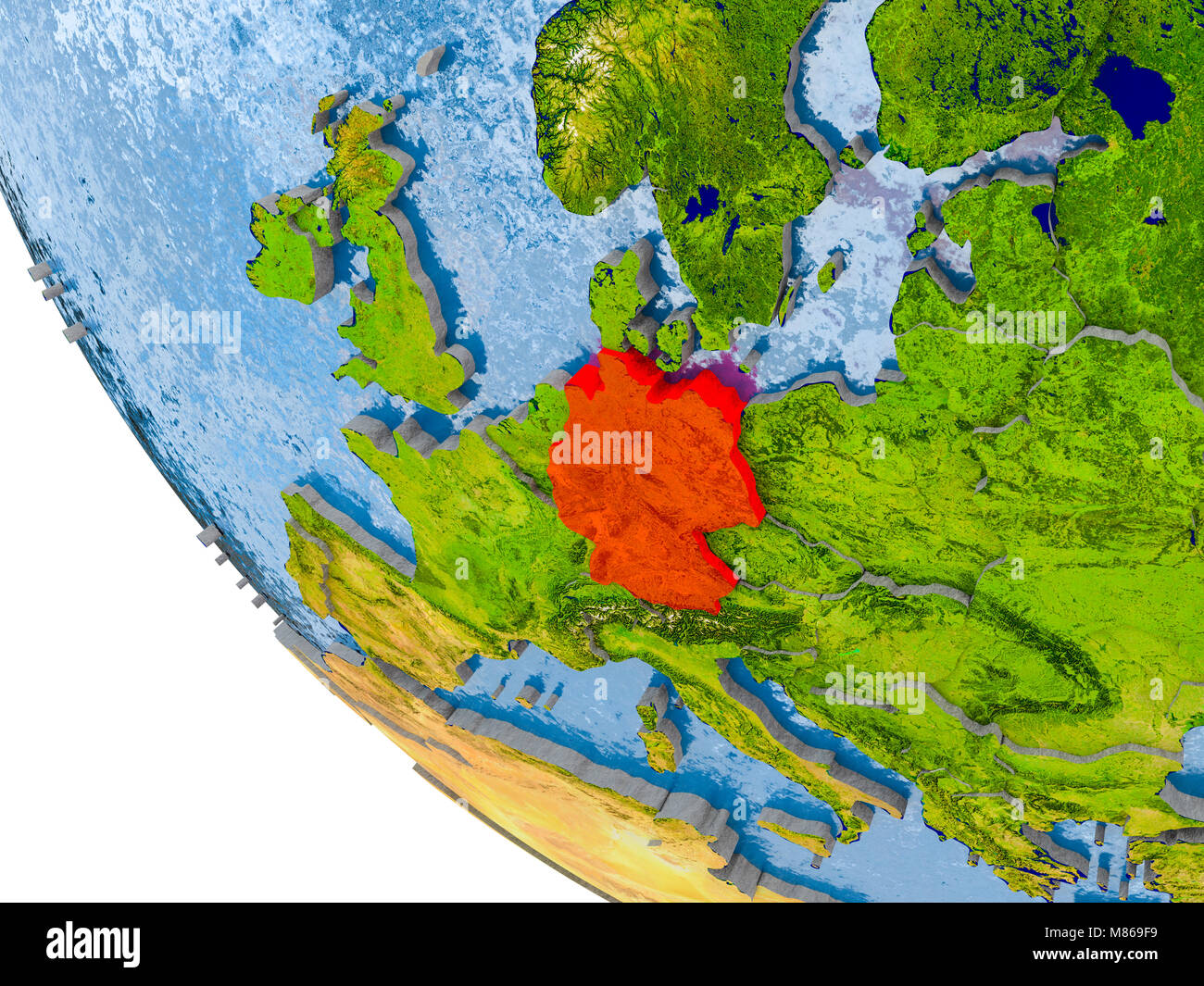 Map of germany in red on globe with real planet surface embossed map of germany in red on globe with real planet surface embossed countries with visible country borders and water in the oceans 3d illustration ele gumiabroncs Gallery
