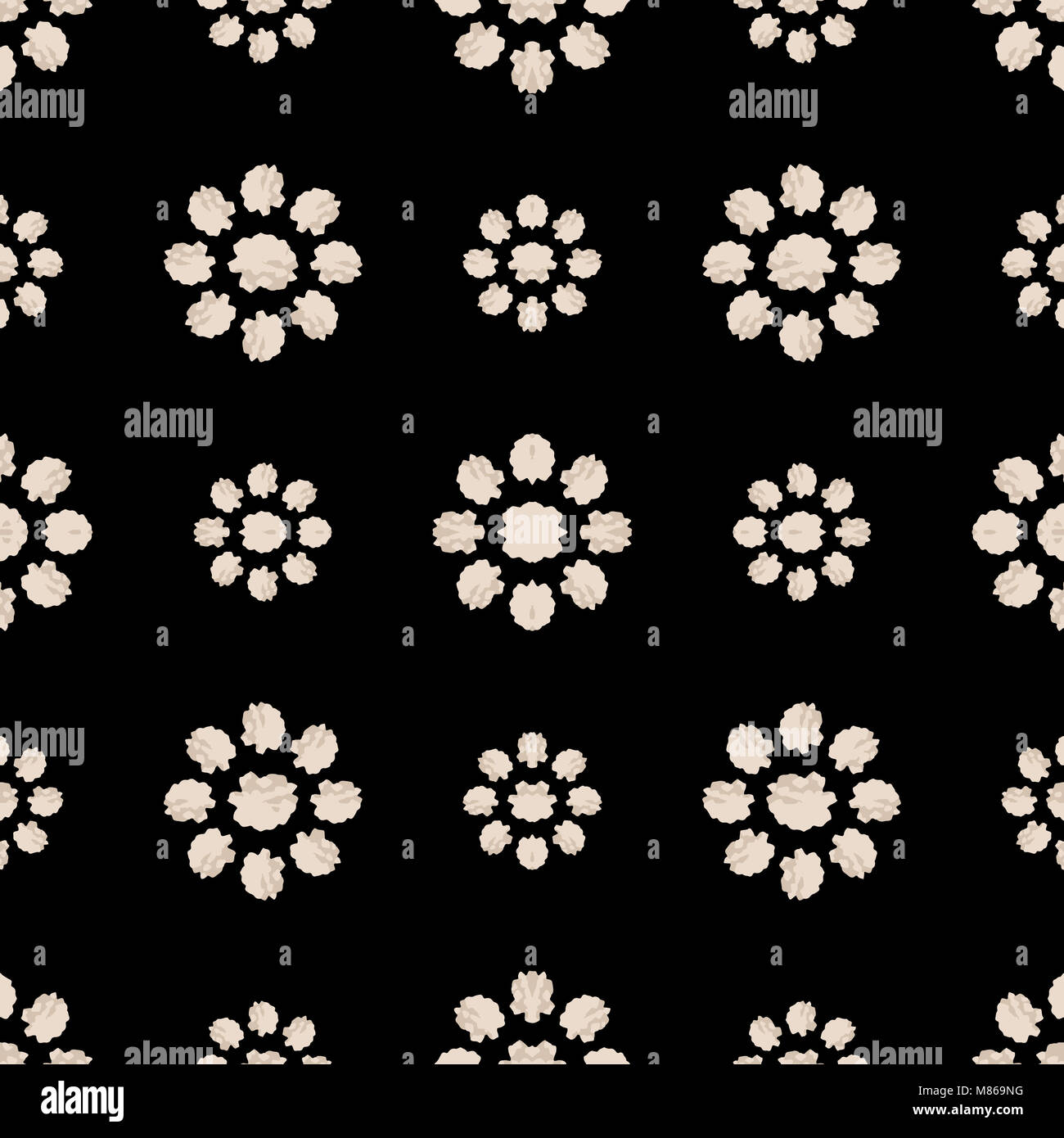 Digital art stilyzed floral motif seamless pattern design in black and white colors Stock Photo