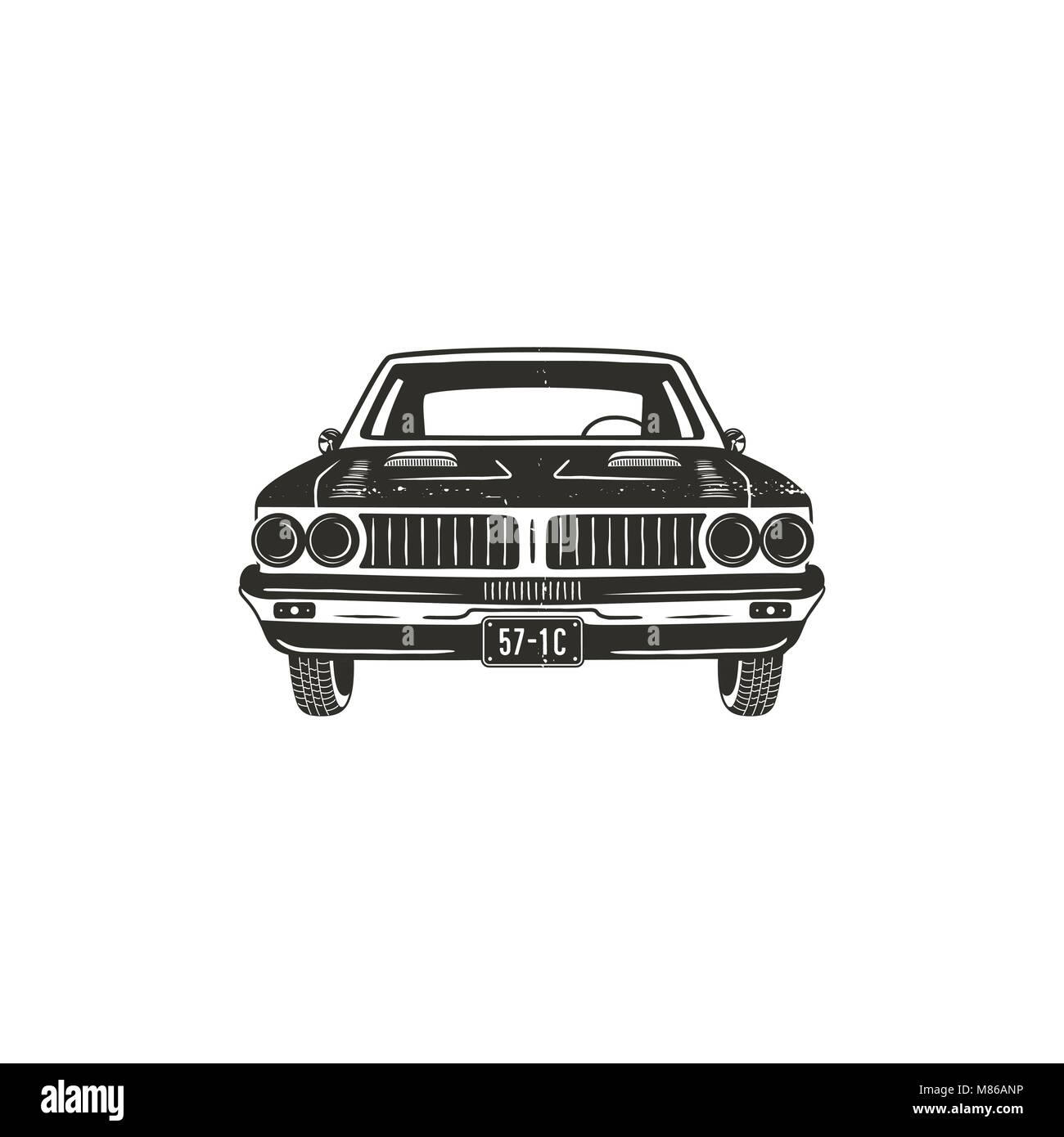 Vintage hand drawn muscle car. Retro car symbol design. Classic car emblem isolated on white background. Stock vector - Stock Image