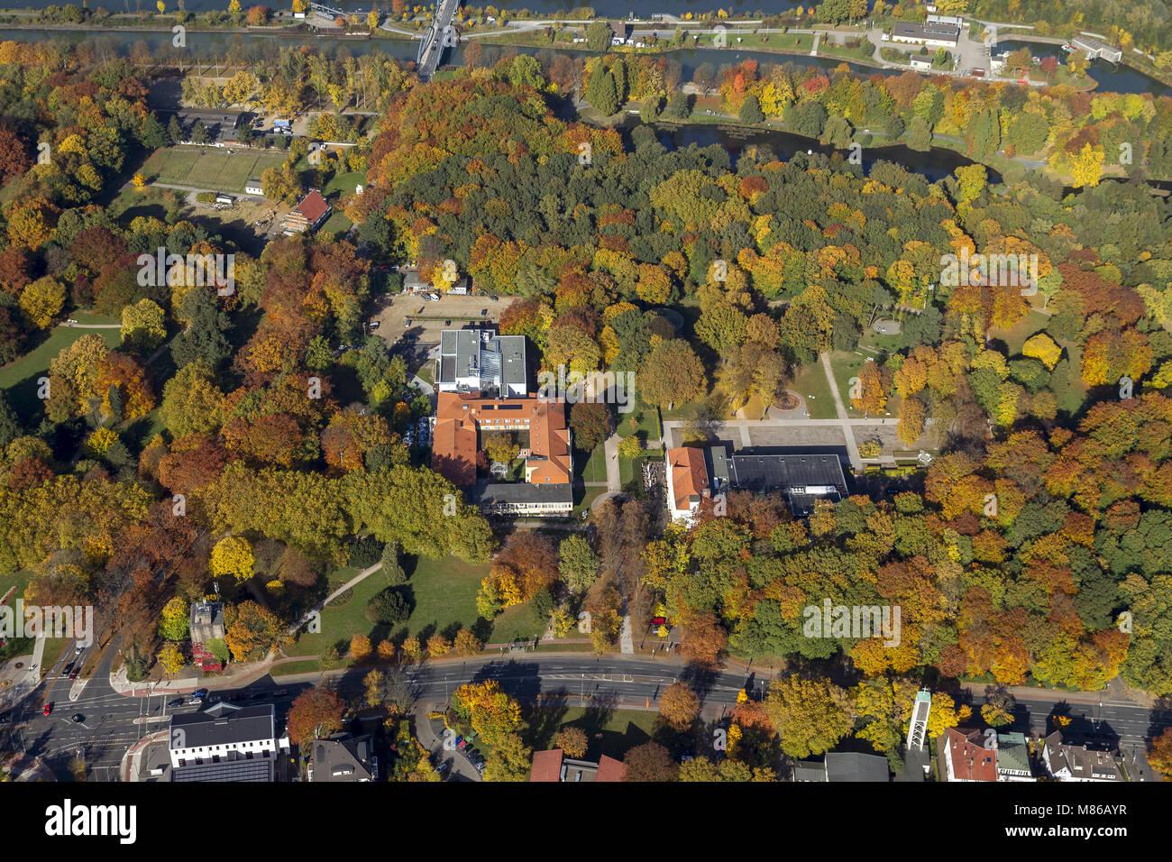 Luftbild, Bad Hamm Kurpark im Herbst, Hamm, Ruhrgebiet, Nordrhein-Westfalen, Deutschland, Europa, birds-eyes view, - Stock Image