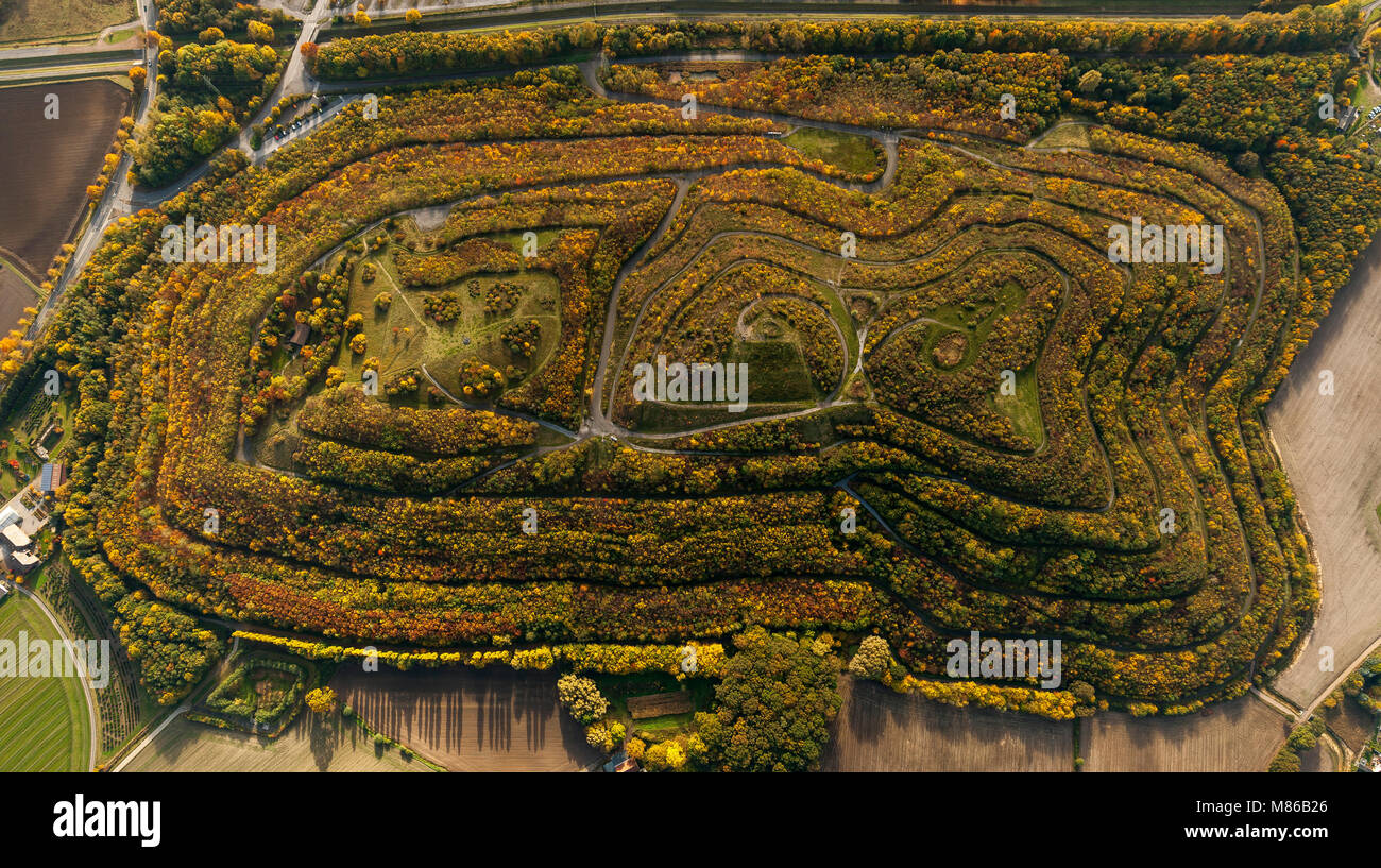 Aerial view, Kissinger Höhe, heap, wooded waste dump, spectacle form, Hamm, Ruhr area, North Rhine-Westphalia, - Stock Image