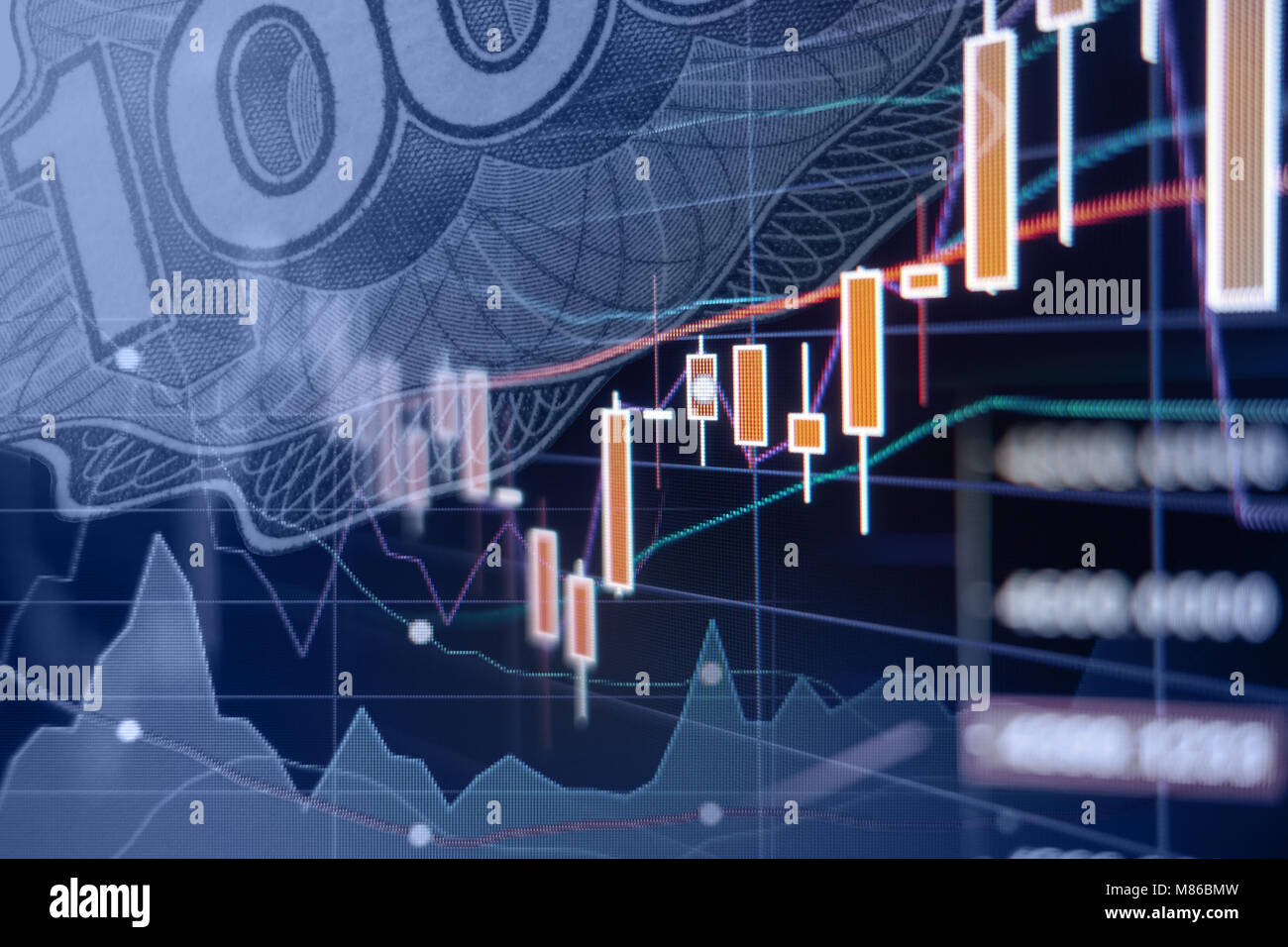 Economic growth - Stock market graphs and charts - Financial and business background Stock Photo