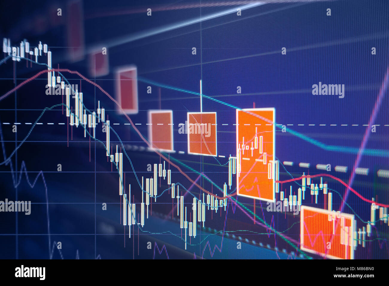 Stock market selloff  -  Stock graphs and charts - Financial and business background Stock Photo