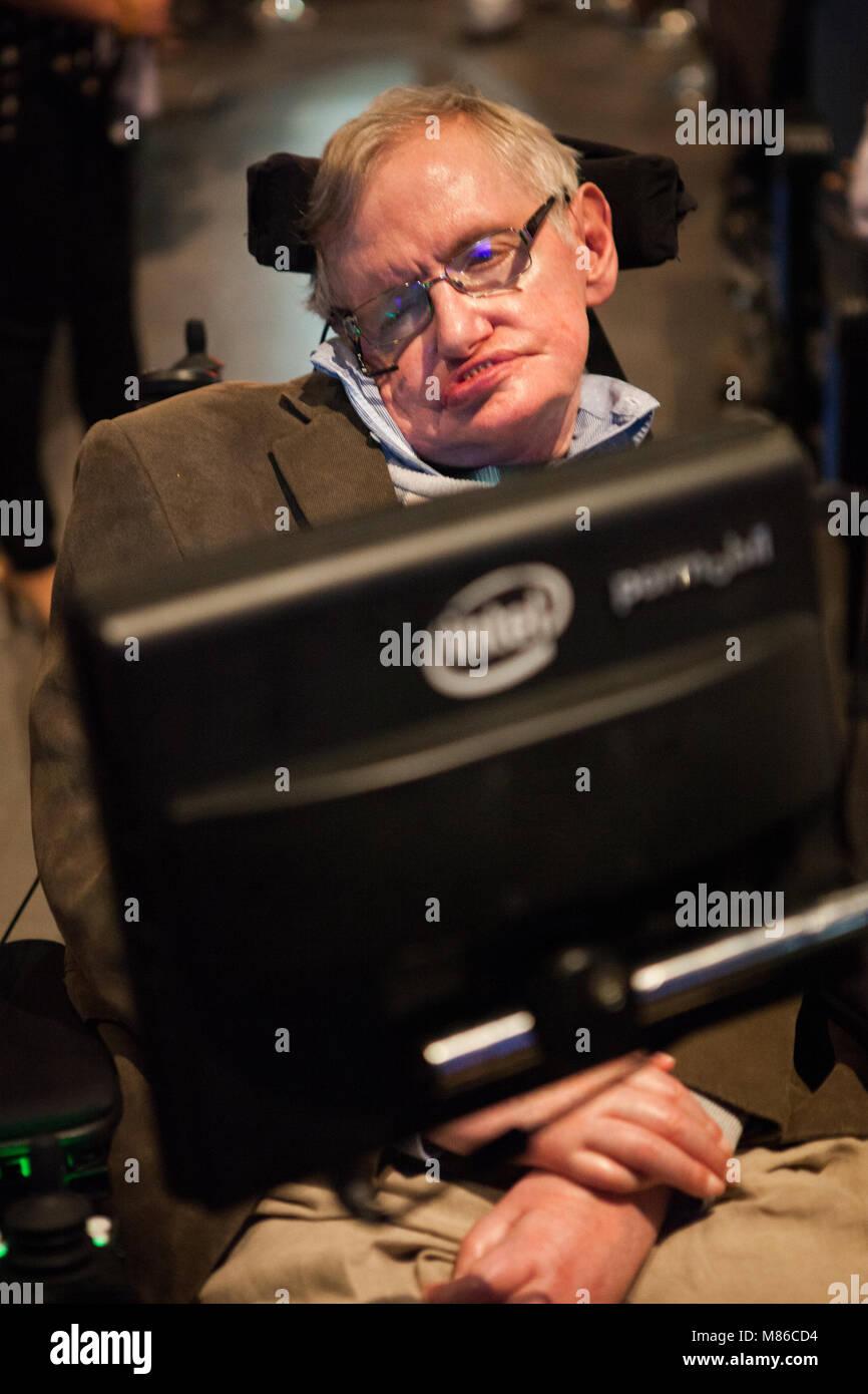 Prof. Stephen Hawking, British scientist, world renowned physicist, headshot, close up. portrait, Starmus festival Stock Photo
