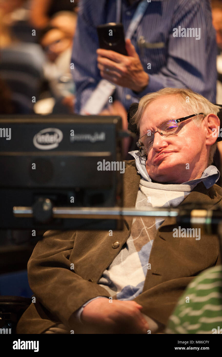 Prof. Stephen Hawking, British scientist, world renowned physicist, headshot, close up. portrait, Starmus festival Stock Photo