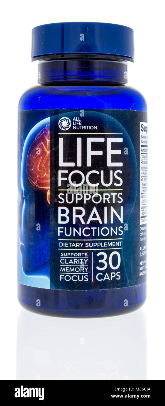 Winneconne, WI -  27 February 2018: A bottle of All Life Nutrition life focus supports brain functions on an isolated - Stock Image