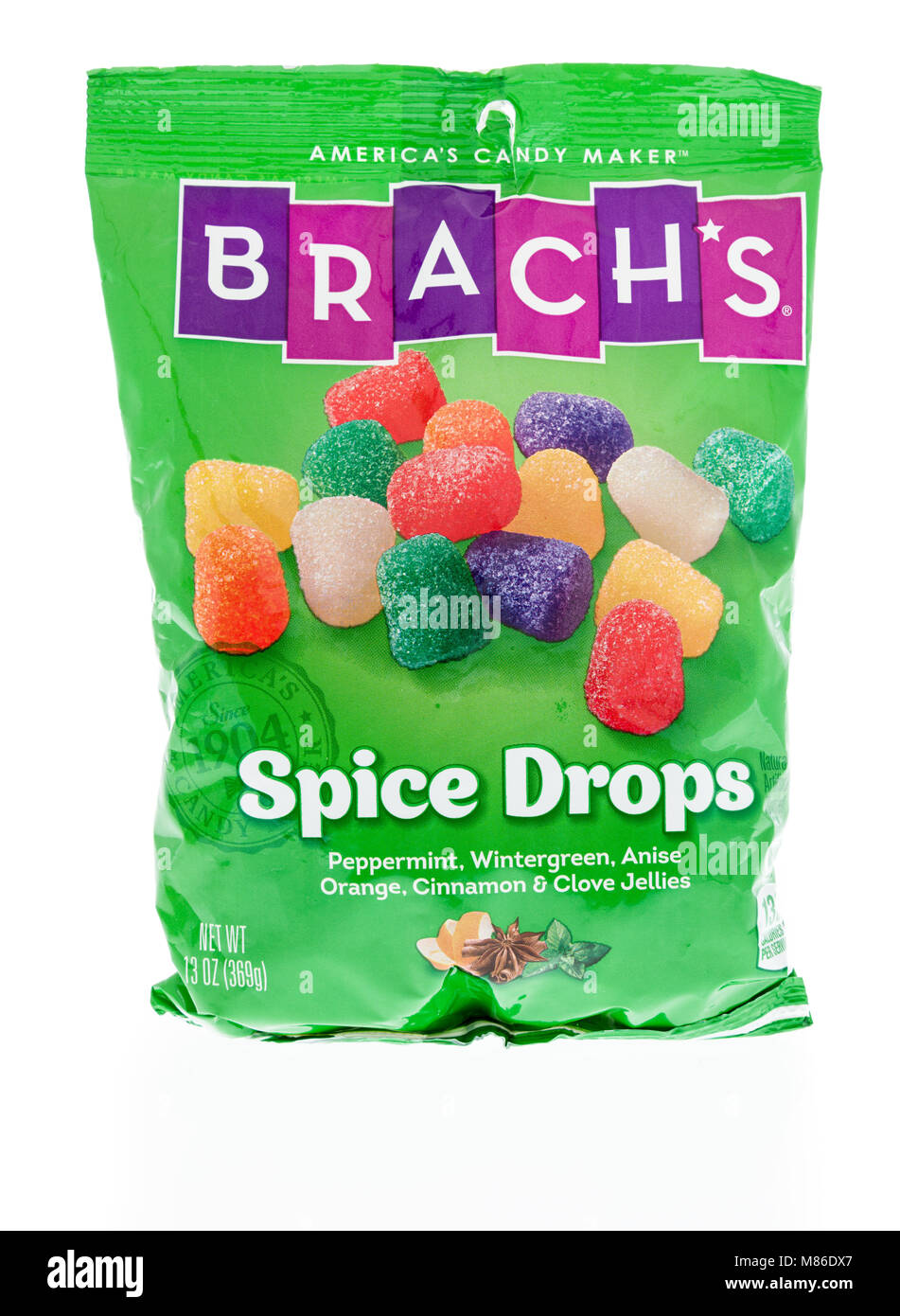 Winneconne, WI - 27 February 2018:   A bag of Brach's Spice drops candy on an isolated background. - Stock Image