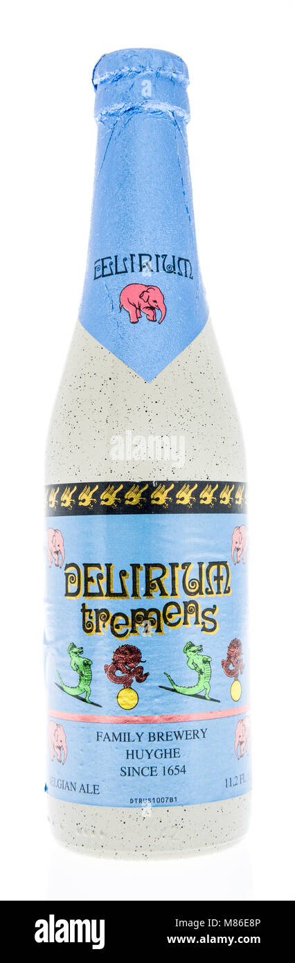 Winneconne, WI - 7 March 2018: A bottle of Delirium Tremens beer on an isolated background. Stock Photo