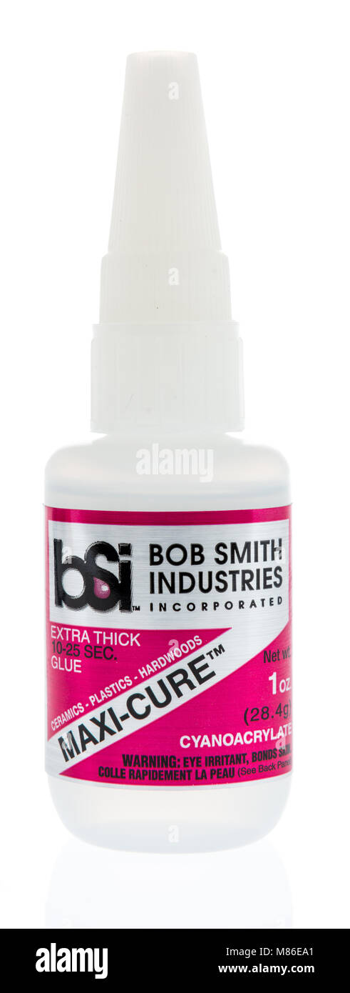 Winneconne, WI - 9 March 2018: A bottle of Bob Smith industries super glue on an isolated background. - Stock Image