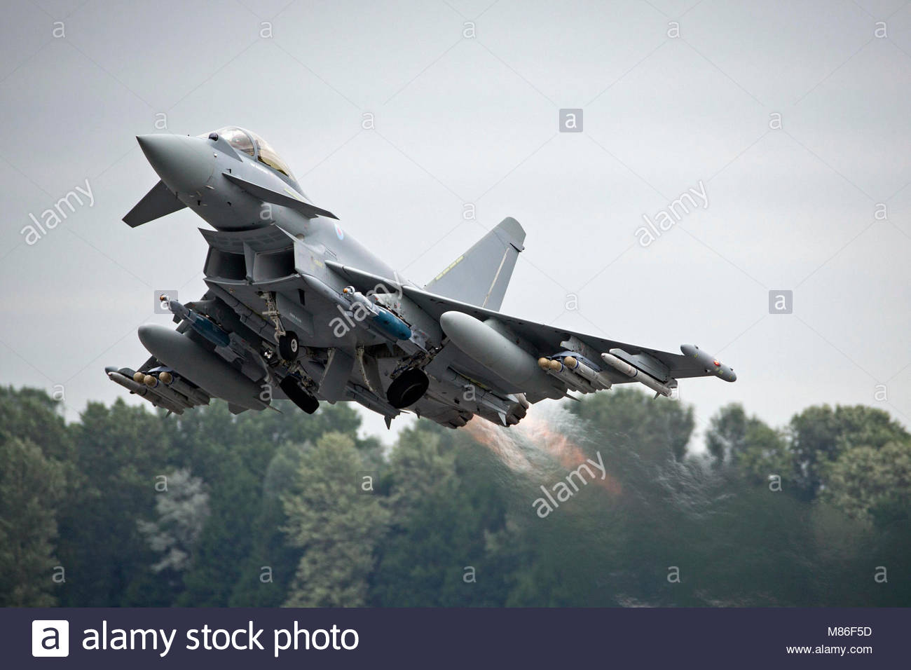 Royal Air Force Typhoon FGR4. Royal Air Force Typhoon FGR4 Piloted by BAE test pilot taking off from RAF Fairford - Stock Image