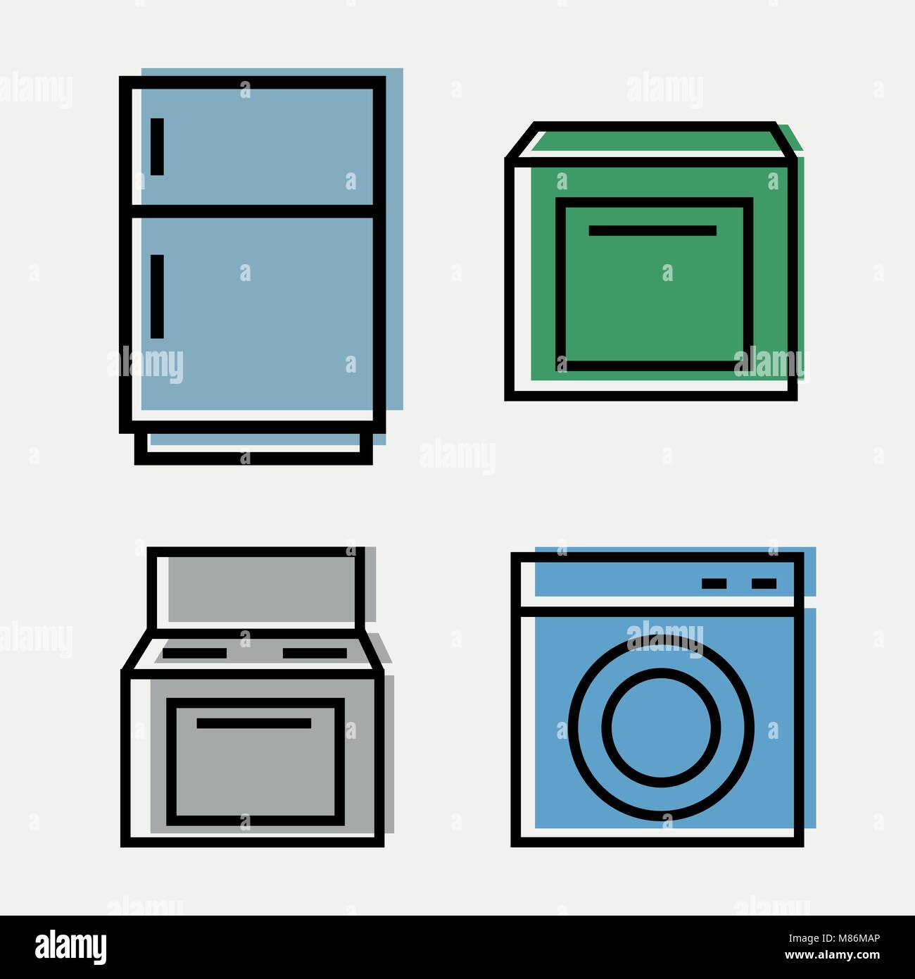 Kitchen Appliances Web - set of 4 icons - fridge, plate, Washer, Dishwasher - Stock Image