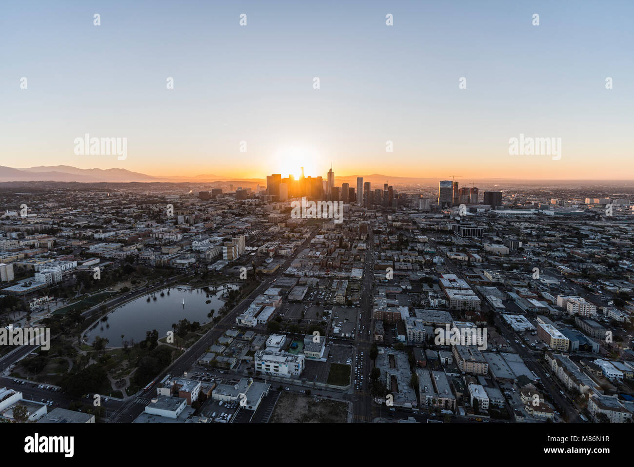 Los Angeles, California, USA - February 20, 2018:  Aerial morning view of the Westlake neighborhood, MacArthur Park - Stock Image