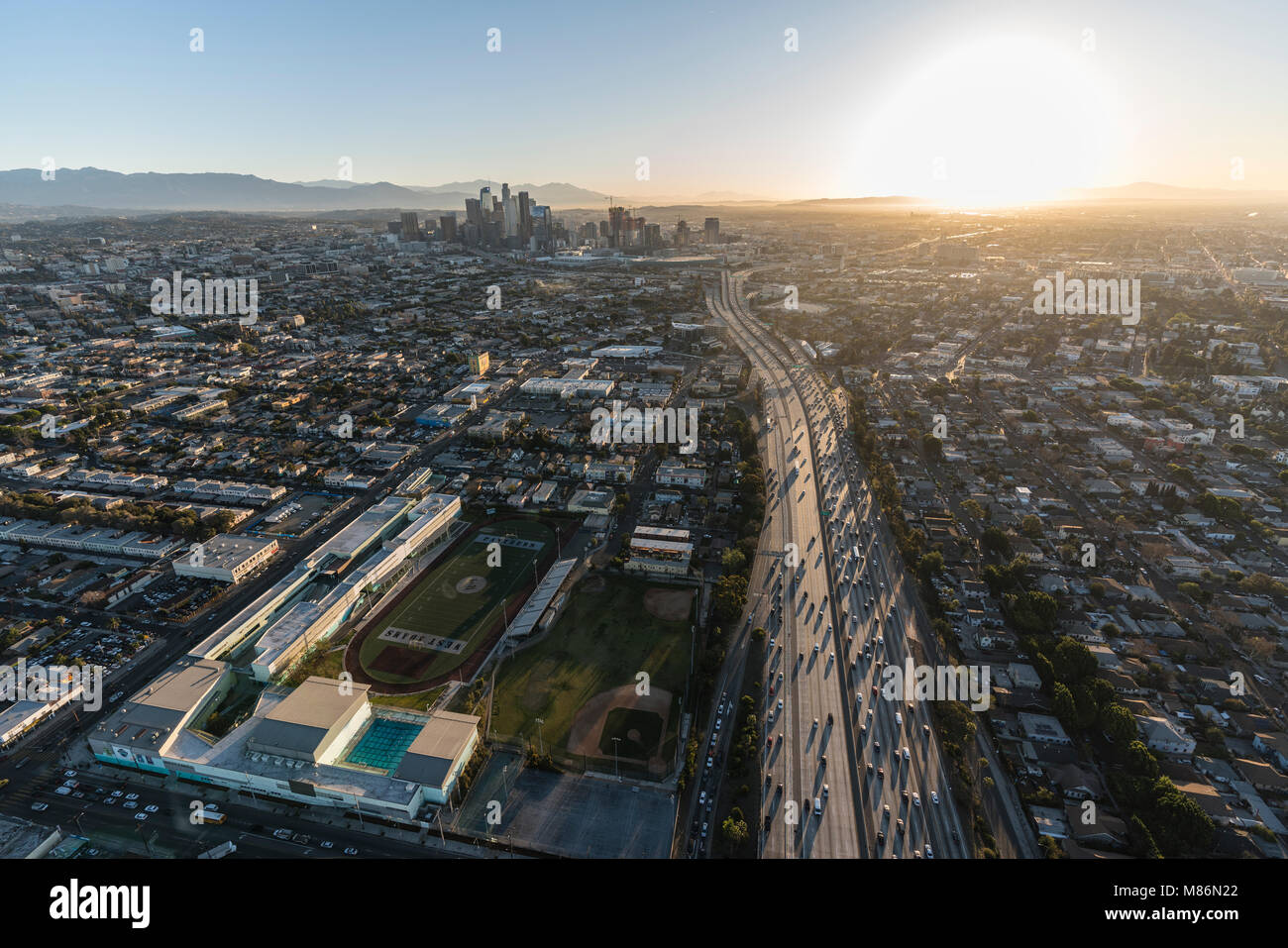 Los Angeles, California, USA - February 20, 2018:  Early morning aerial view of Santa Monica 10 Freeway and West - Stock Image