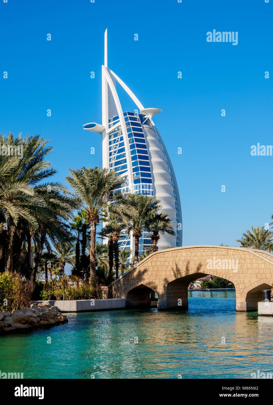 Medinat Jumeirah and Burj Al Arab Luxury Hotel, Dubai, United Arab Emirates - Stock Image
