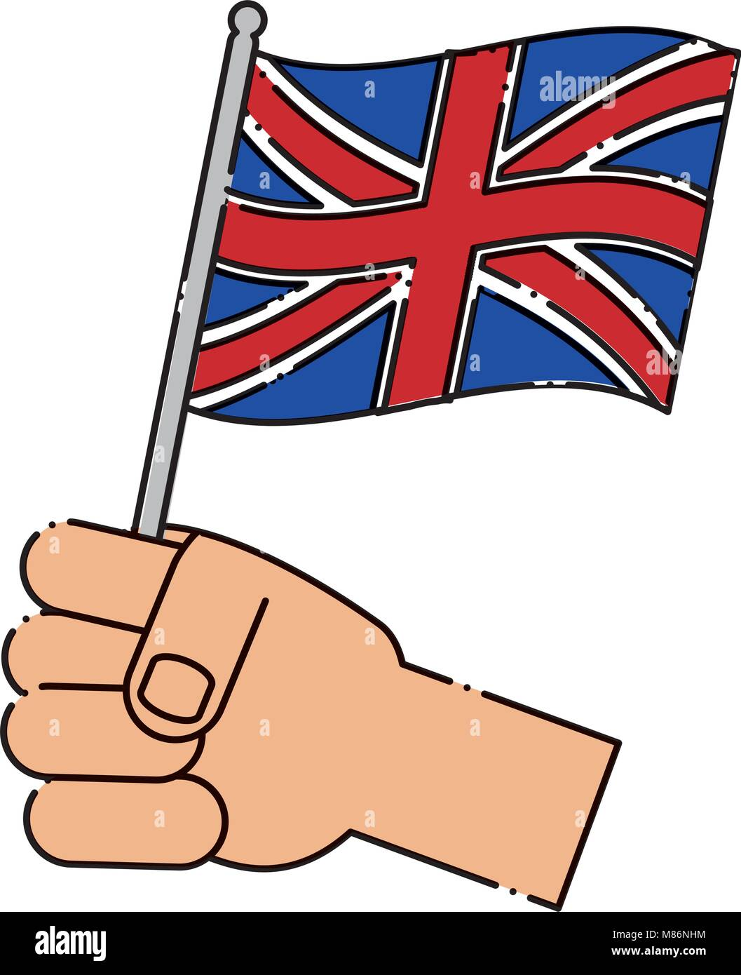 Hand Holding A Flag Of United Kingdom Over White Background Colorful Design Vector Illustration