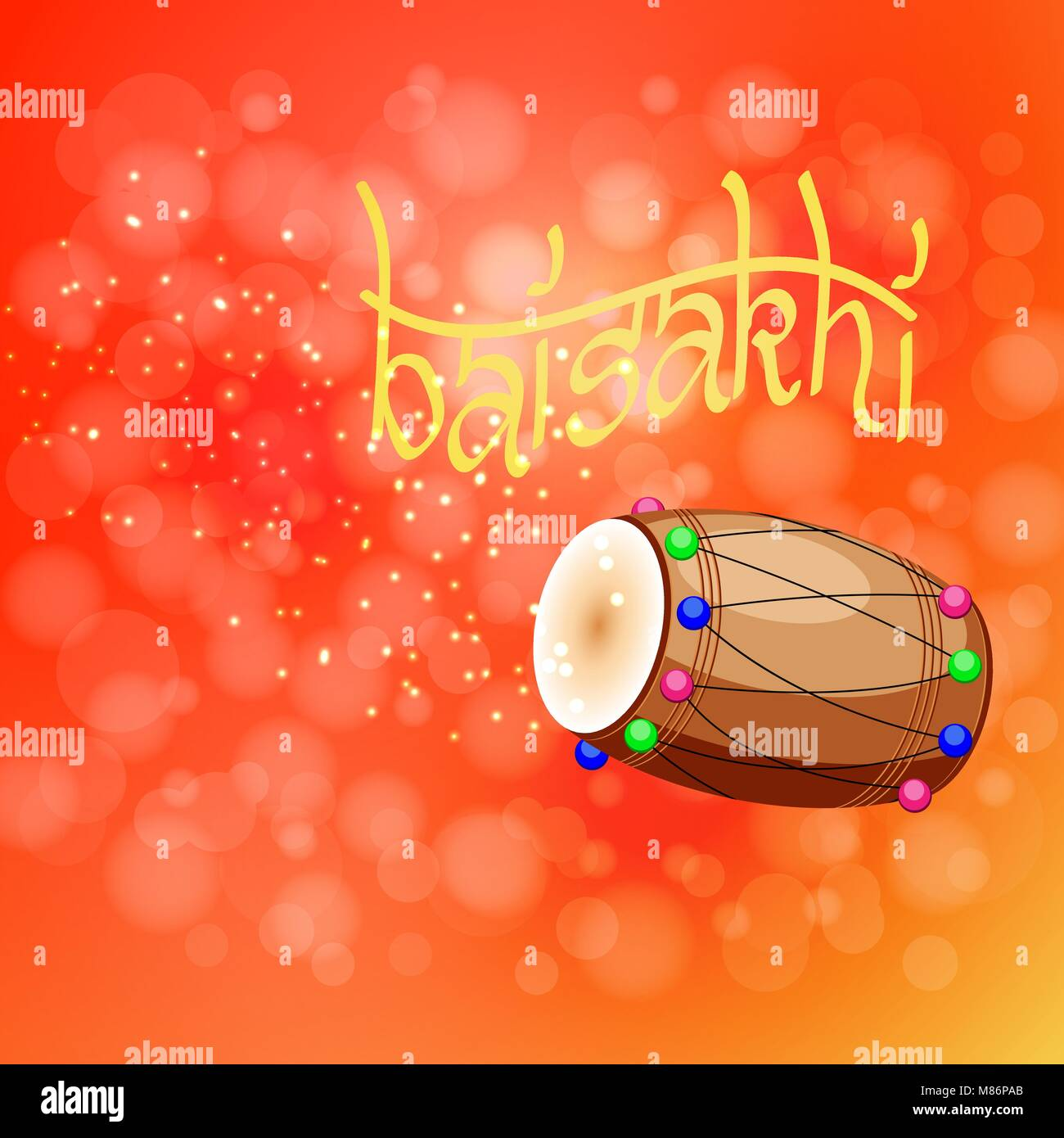 Celebration Holiday Baisakhi. New Year of the Sikhs. Drum, dholak, devanagari. On a red-orange background - Stock Vector