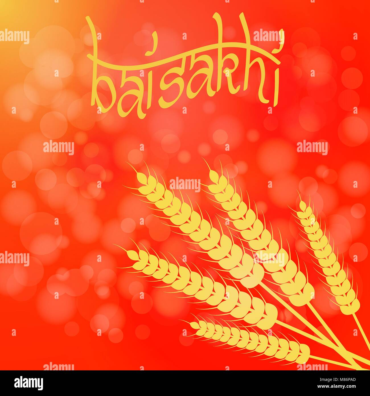 Holiday Baisakhi. New Year of the Sikhs. Bunch of Wheat. On a red-orange background - Stock Vector