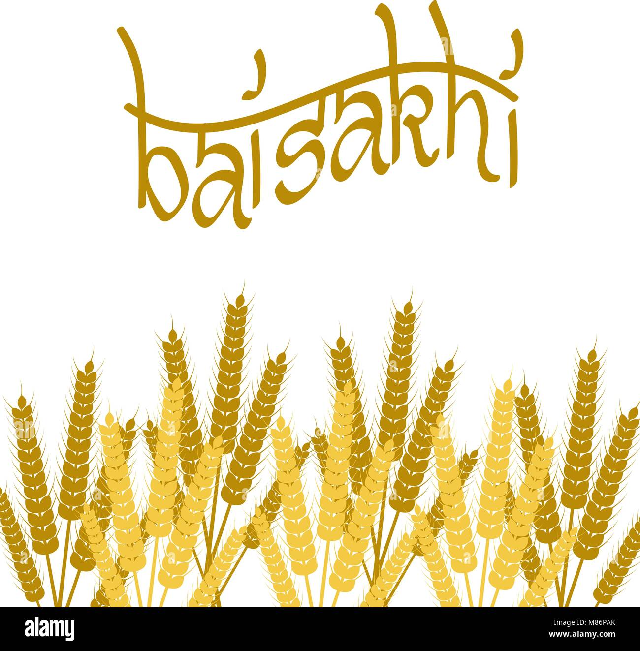 Holiday Baisakhi. New Year of the Sikhs. Bunchs of Wheat. Lettering name of the holiday - Stock Vector