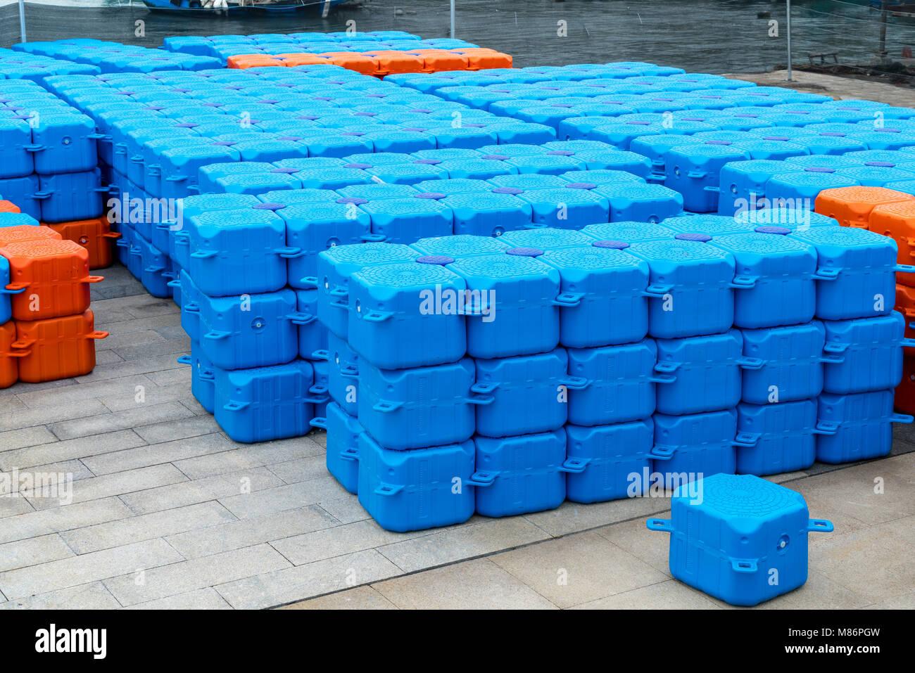 The plastic warehousing logistics box on the seashore is