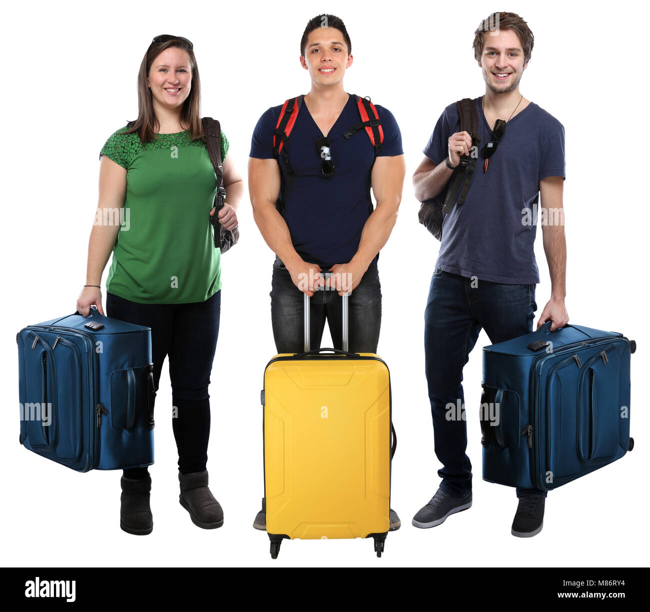 Group of young people vacation holidays luggage bag travel traveling isolated on a white background - Stock Image