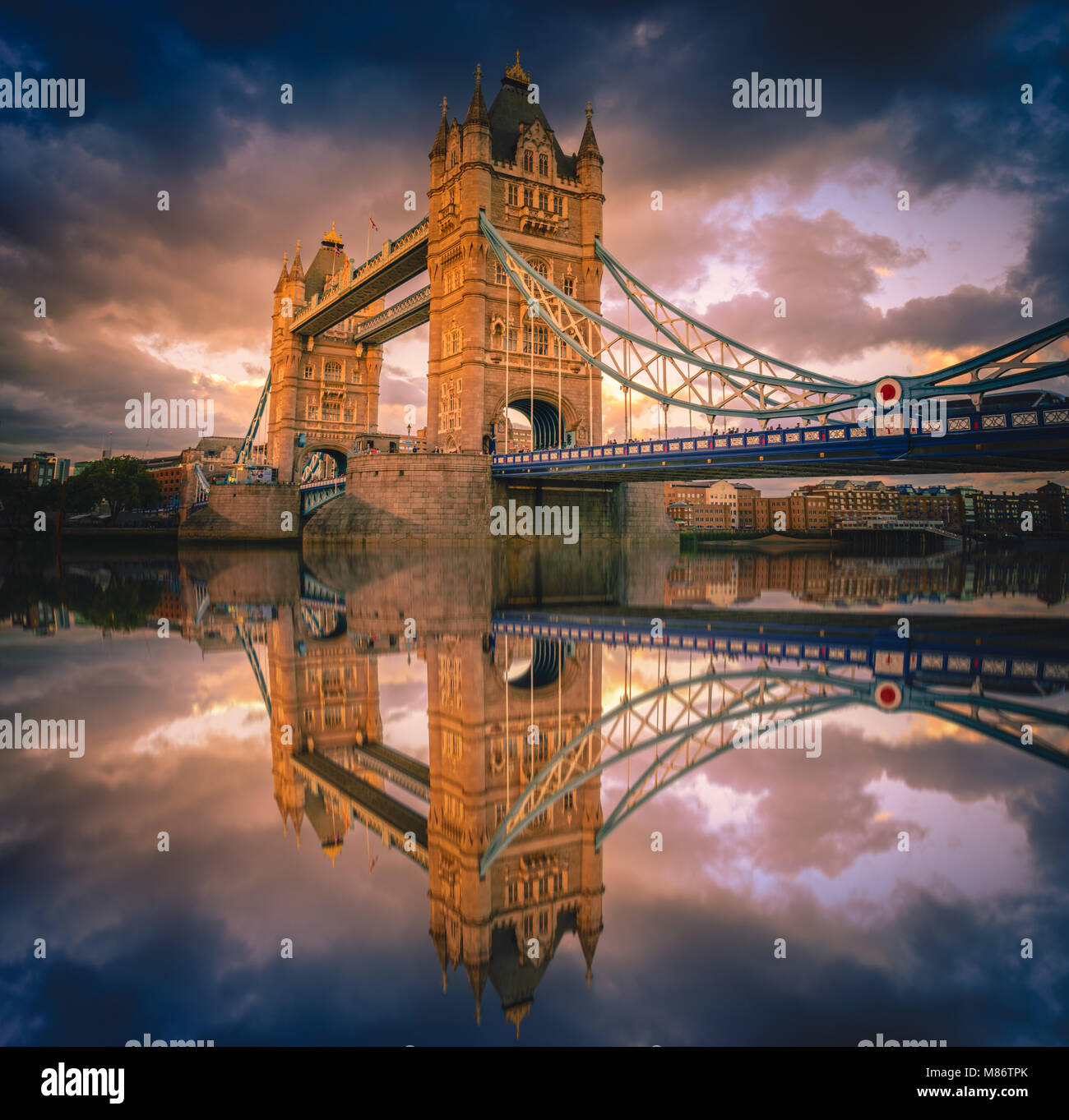 Tower Bridge landmark in London city at sunset in UK. - Stock Image