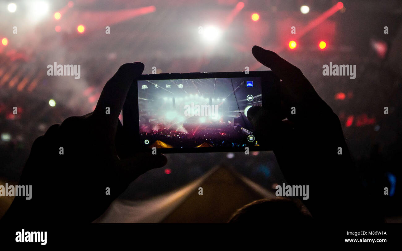 Concert event in shadows - Stock Image