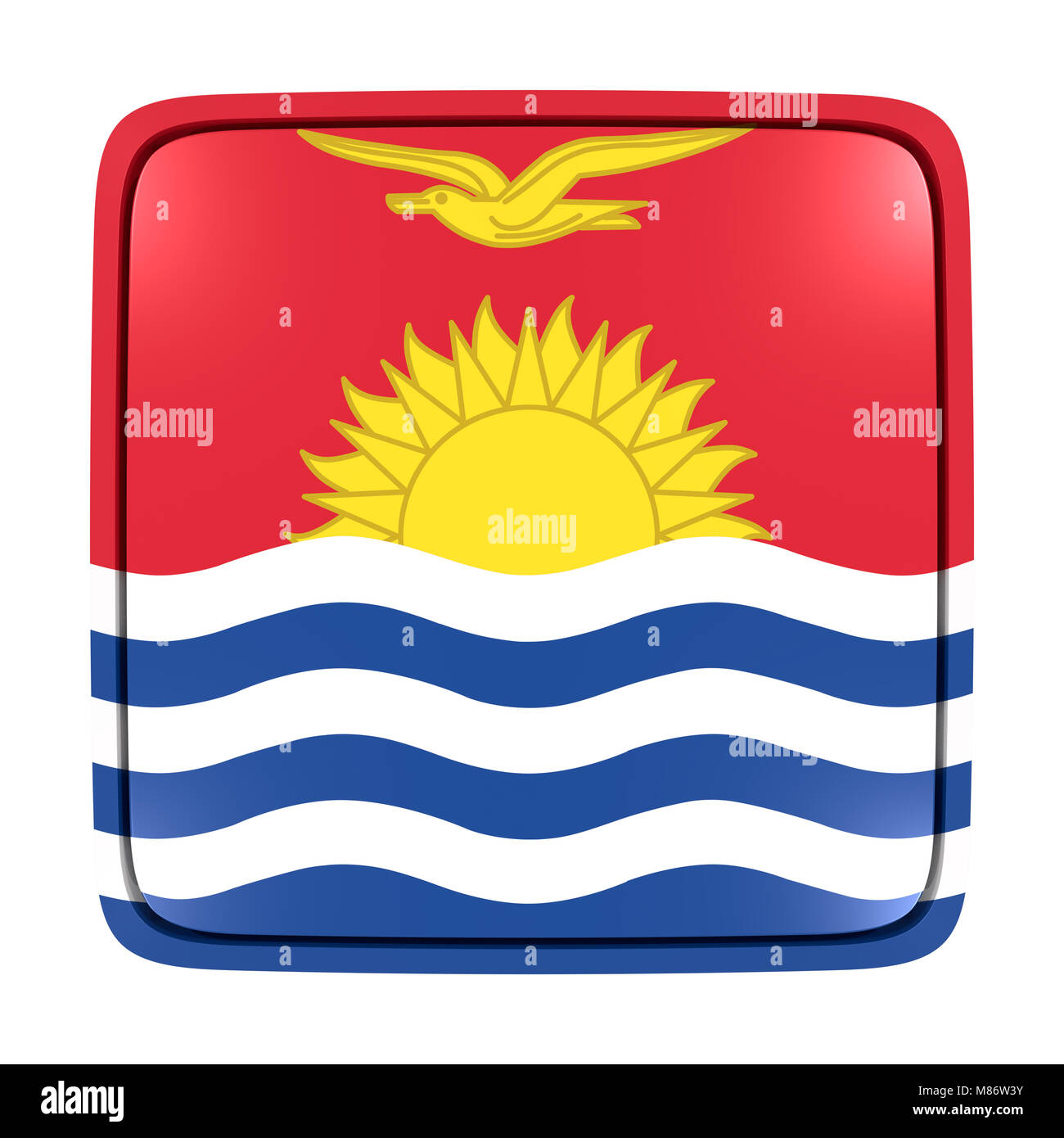 3d rendering of a Kiribati flag icon. Isolated on white background. - Stock Image