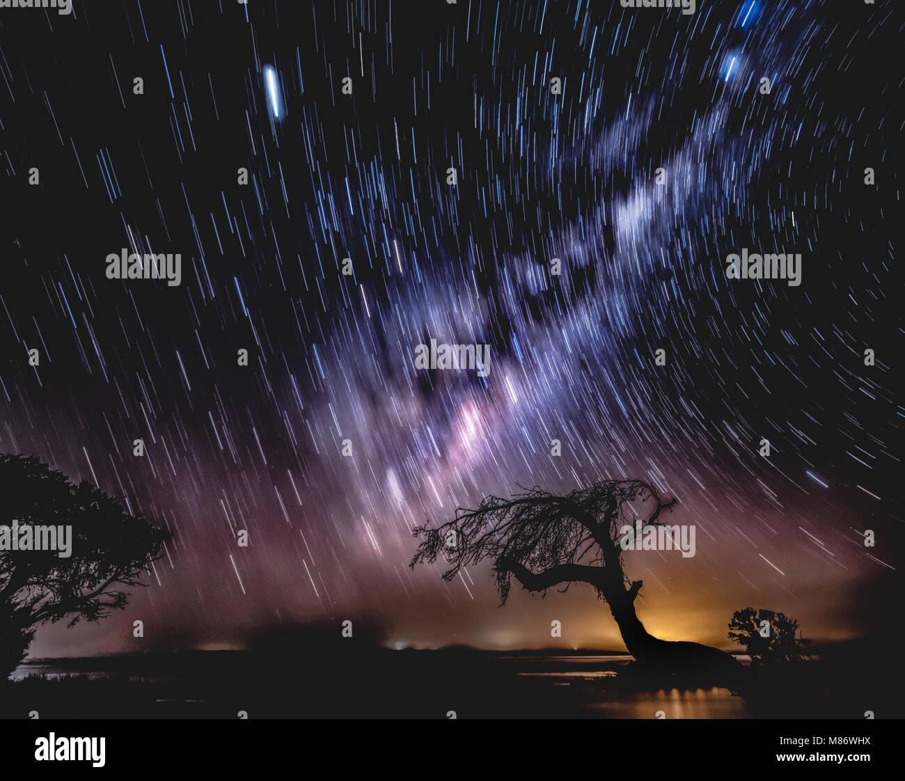 Star trail,Island point,Mandurah,Western Australia,Australia - Stock Image