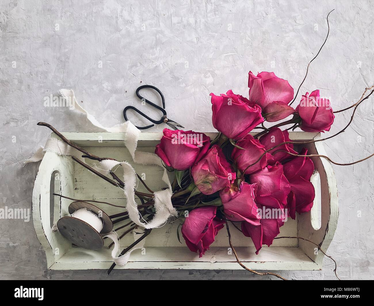 Bouquet of roses on a tray with ribbon and scissors - Stock Image