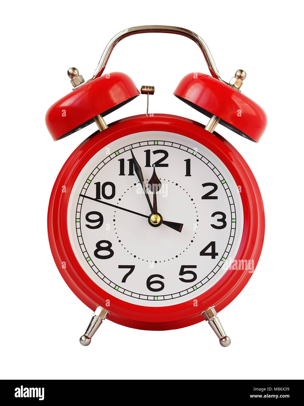 Red retro alarm clock at twelve o'clock, isolated on white background. Midnight, midday. Minutes about New year. - Stock Image
