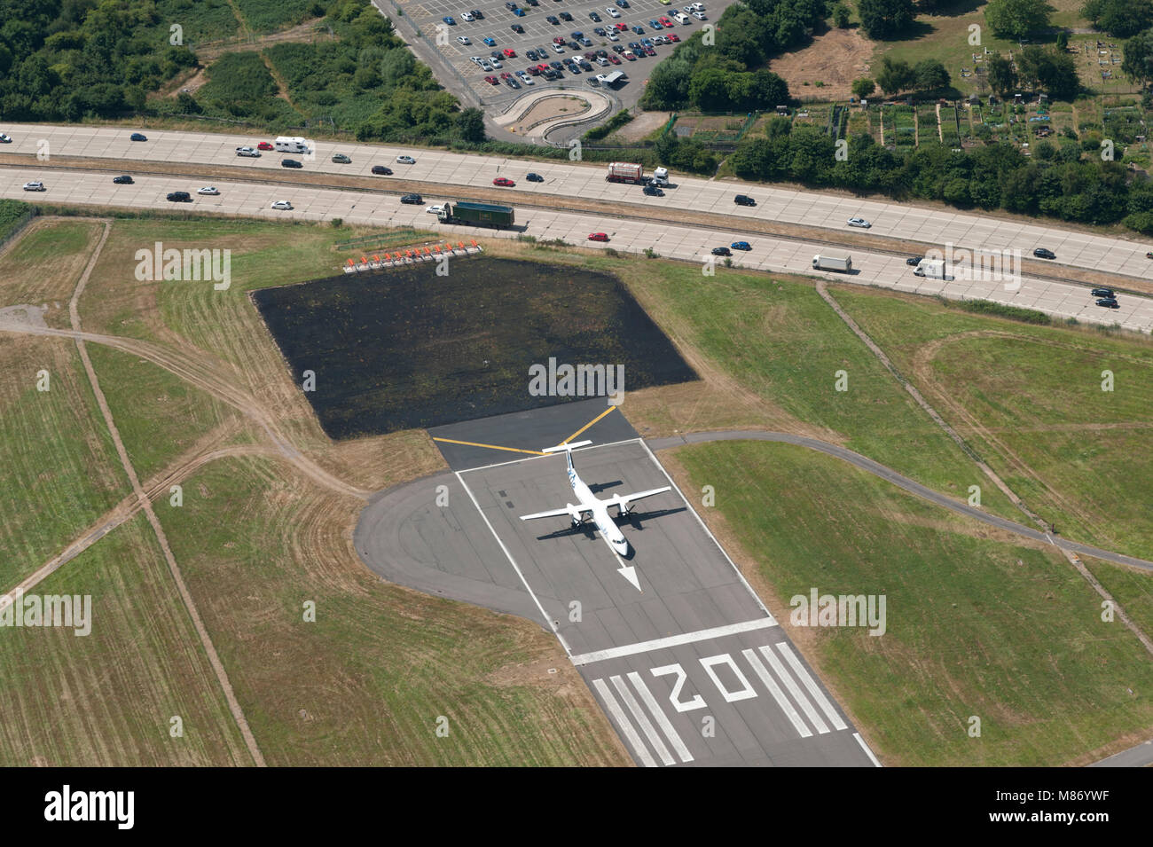 Southampton (Eastleigh) Airport from the air Stock Photo