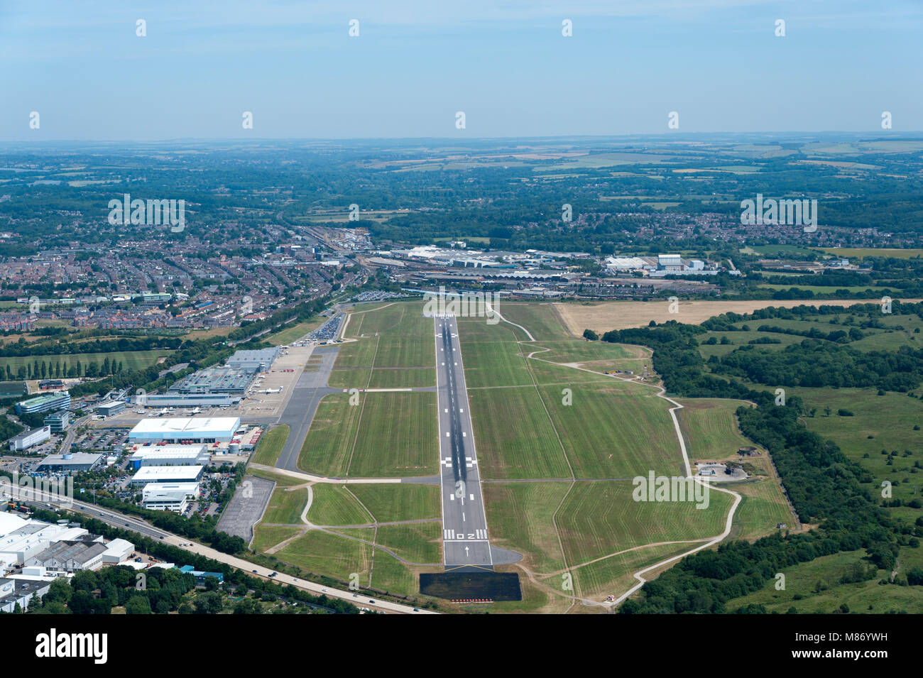 Southampton (Eastleigh) Airport from the air - Stock Image