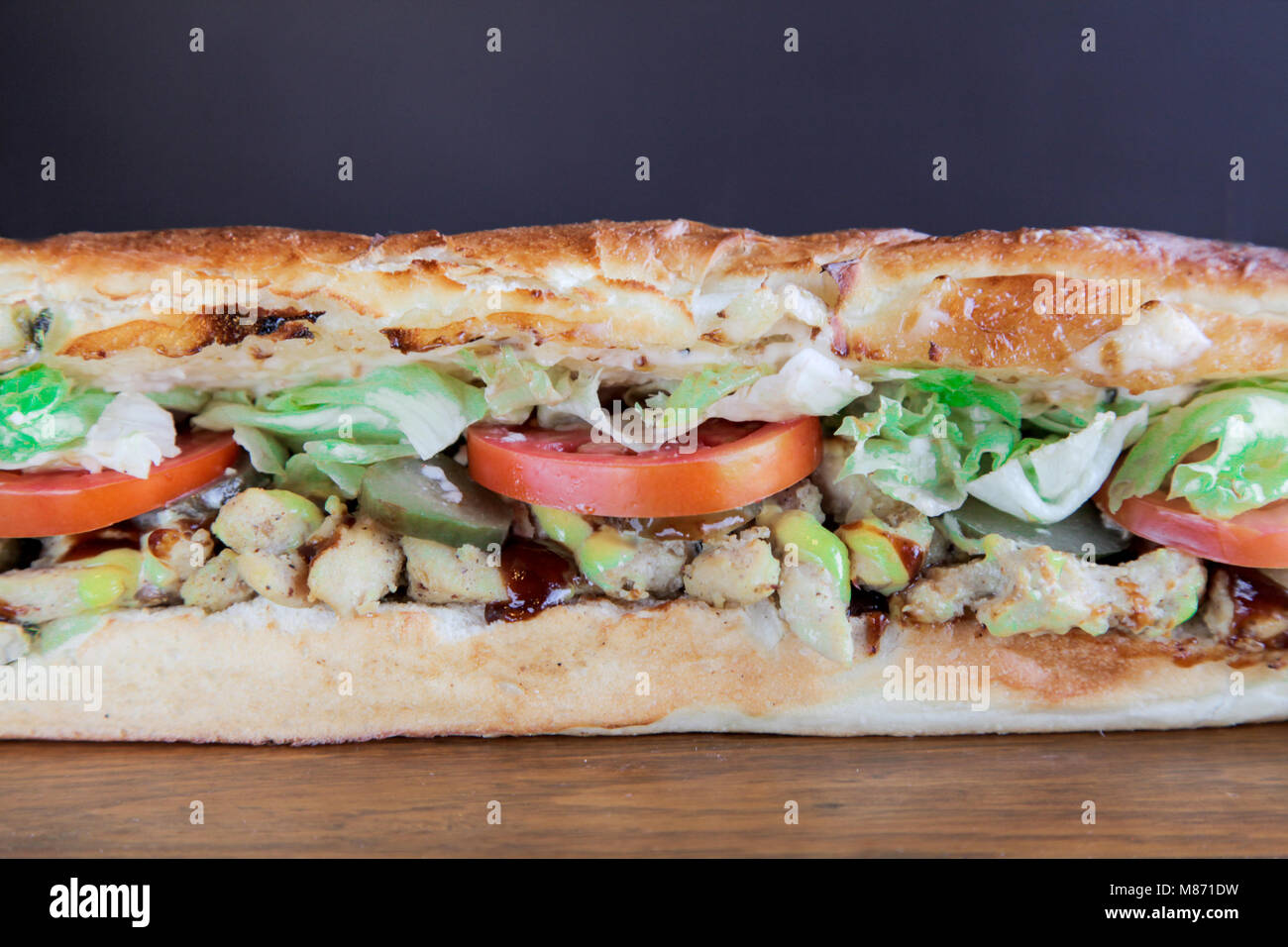 Closeup of large hoagie sandwich - Stock Image