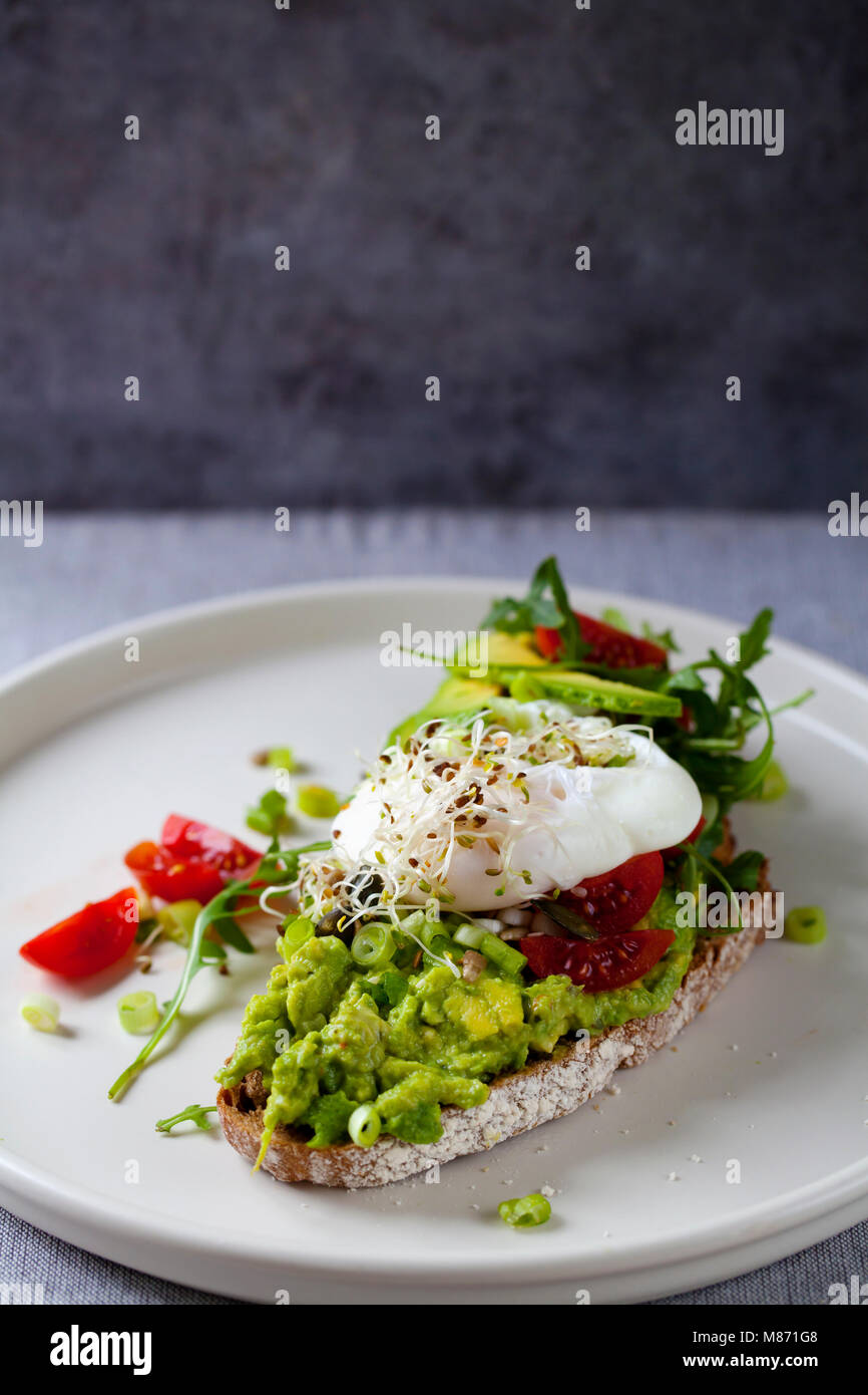 Rye toast with avocado, tomatoes, alfalfa sprouts and poached egg - Stock Image